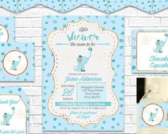 Blue Elephant Baby Shower Invitation and Decoration - Cute Elephant Boy Baby Shower Decorations - Download & Personalize in Adobe Reader