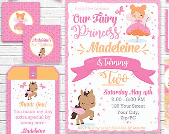 Red Hair Fairy Invitation and Decorations - Fairy Princess and Unicorn Printable Party Kit - Download & Personalize in Adobe Reader