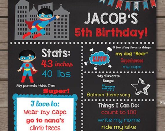 Superhero Chalkboard Poster - Black Hair Superhero Chalkboard - Superhero Birthday Party - Instant Download & Edit in Adobe Reader at home