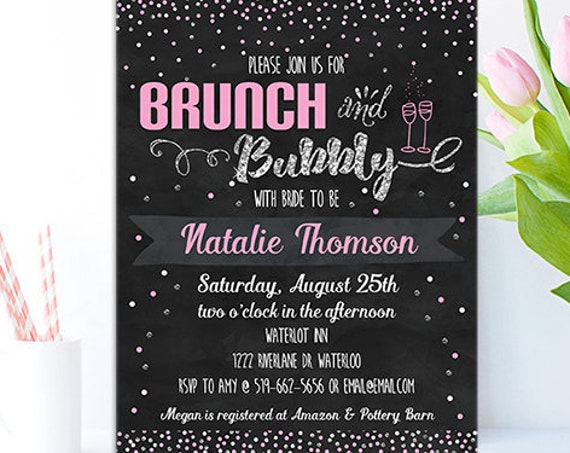 Pink Silver Brunch & Bubbly Bridal Shower Invitation - Champagne Bridal Shower Invitation - Instant Download and Personalize in Adobe Reader