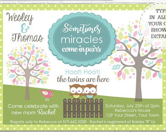 Twin Boys Baby Shower Invitation - Cute Owl Twins Baby Shower - Twins Invitation - Download & Personalize Invitation in Adobe Reader