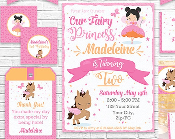 Black Hair Fairy Invitation and Decorations - Fairy Princess and Unicorn Printable Party Kit - Download & Personalize in Adobe Reader