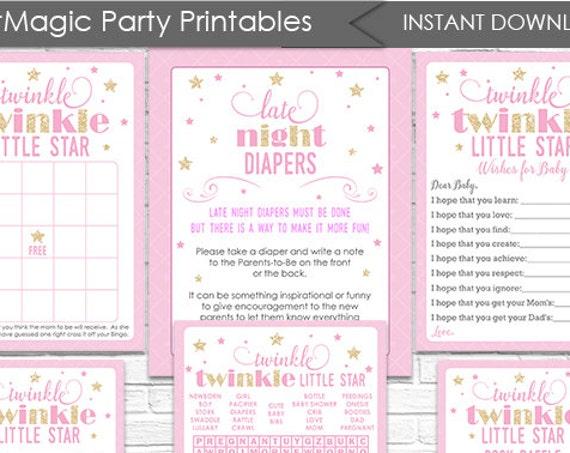 Twinkle Twinkle Little Star Baby Shower Games Package - Instant Download - Twinkle Twinkle Baby Shower - Twinkle Star Baby Shower Activities