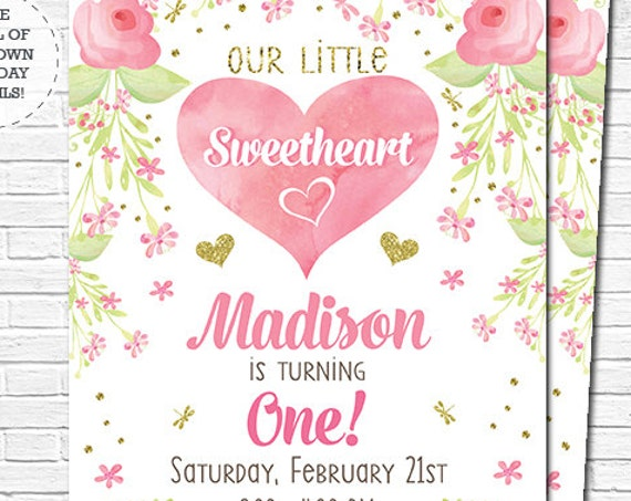 Little Sweetheart Birthday Invitation - Girl 1st Birthday Invitation - Instant Download & Personalize in Adobe Reader at home
