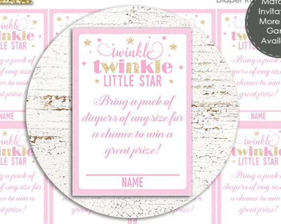 Twinkle Twinkle Diaper Raffle Baby Shower Game - Instant Download - Twinkle Twinkle Baby Shower - Twinkle Star Baby Shower Diaper Raffle