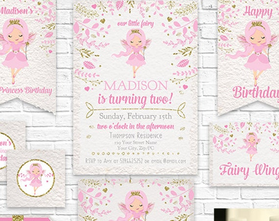 Fairy Invitation and Decorations - Pink Gold Fairy Princess Invitation Printable Party Kit - Download & Personalize in Adobe Reader