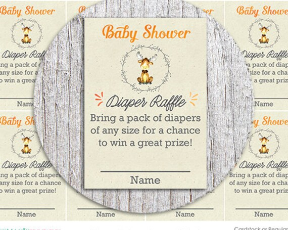 Baby Moose Diaper Raffle Baby Shower Game - Instant Download - Woodland Diaper Raffle Game - Shower Diaper Raffle - Baby Shower Activity