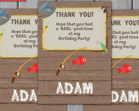 Fishing Birthday Party Thank You Note Cards- Fishing Favor Tag - Fishing Thank You- Editable Text to Personalize Yourself - Instant Download