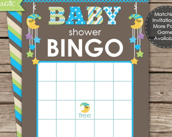 Moon & Stars Boy Baby Shower Game - Instant Download - Moon Baby Shower Bingo Game - Bingo Baby Shower Game - Baby Shower Bingo - Baby Boy