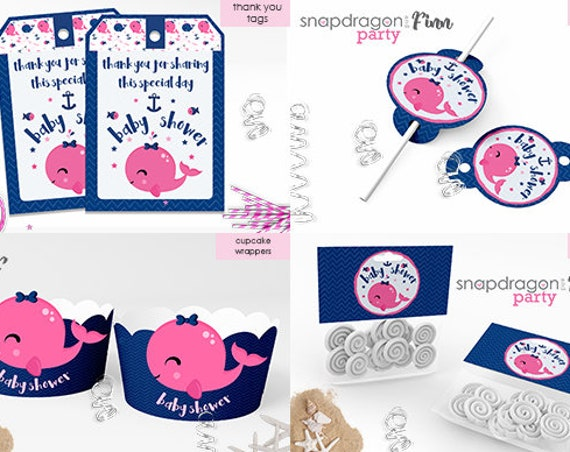 Pink Nautical Baby Shower Printable Decorations - Girl Baby Shower Decorations - Nautical Signs, Thank You Tags, Tent Cards & more