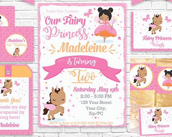 African American Fairy Invitation and Decorations - Fairy Princess and Unicorn Printable Party Kit - Download & Personalize in Adobe Reader