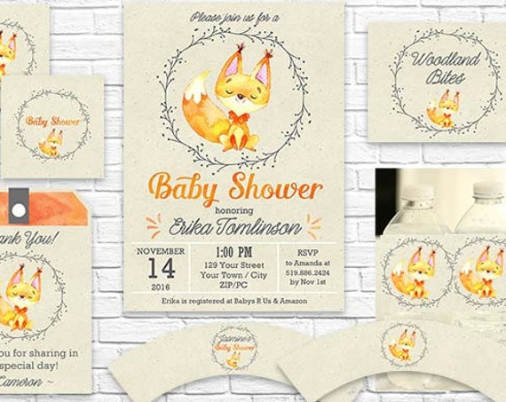 Woodland Baby Shower Invitation and Decorations - Fall Baby Shower Invitation - Cute Fox Baby Shower -Download & Personalize in Adobe Reader