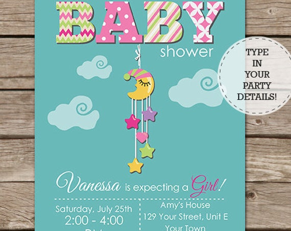 Moon & Stars Baby Shower Invitation - Cute Girl Baby Shower Invitation - Moon Invitation - Download and Personalize at home in Adobe Reader
