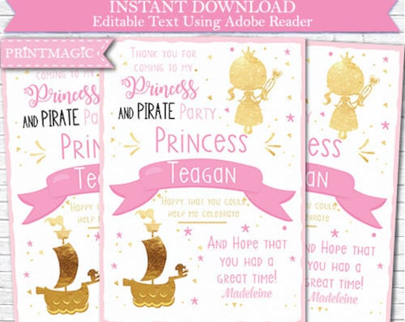 Pink Gold Princess and Pirate Birthday Thank You Note Card - Printable Pirate and Princess Party - Download & Personalize in Adobe Reader