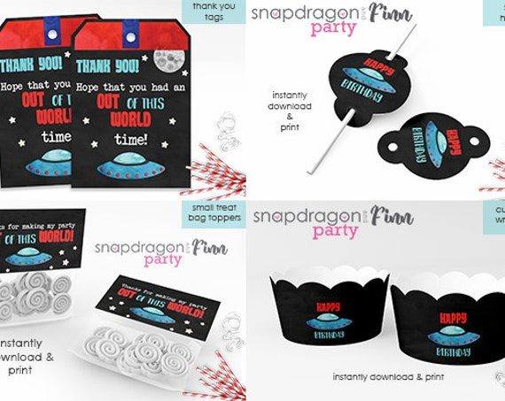 Space Party Printable Decorations Kit- Space Birthday Decorations - Space Thank You,Space Cupcake Toppers,Space Sign,Space Tent Cards & more