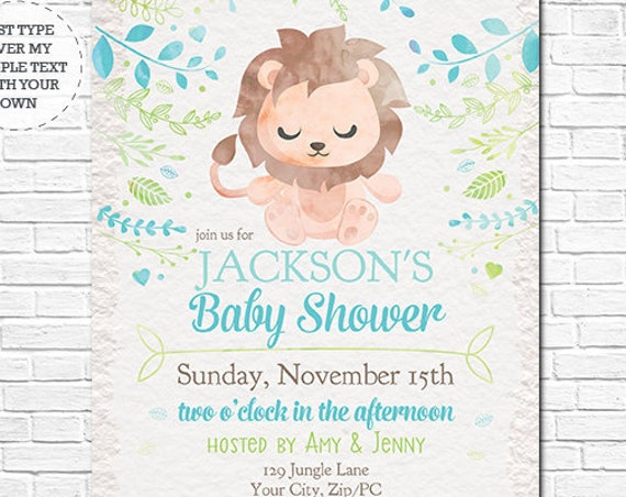Lion Baby Shower Invitation - Blue Watercolor Jungle Baby Shower Invitation - Instantly Download and Personalize in Adobe Reader at home