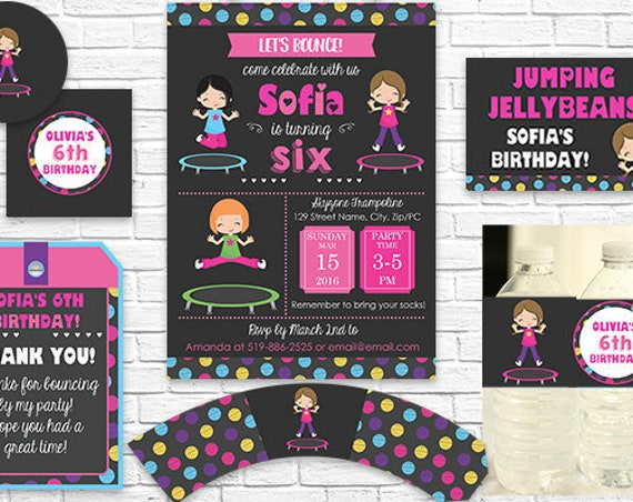 Trampoline Birthday Invitation and Decorations - Trampoline Invitation - Brown Hair Girl - Download & Personalize in Adobe Reader at home