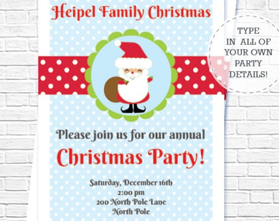 Jolly Santa Christmas Party Invitation - Christmas Invitation - Santa Invitation - Christmas Party - Download & Personalize in Adobe Reader