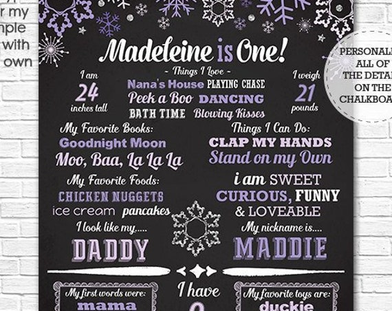 Winter Wonderland 1st Birthday Chalkboard - Winter Onederland Chalkboard - Purple Snowflake - Download  & Personalize in Adobe Reader