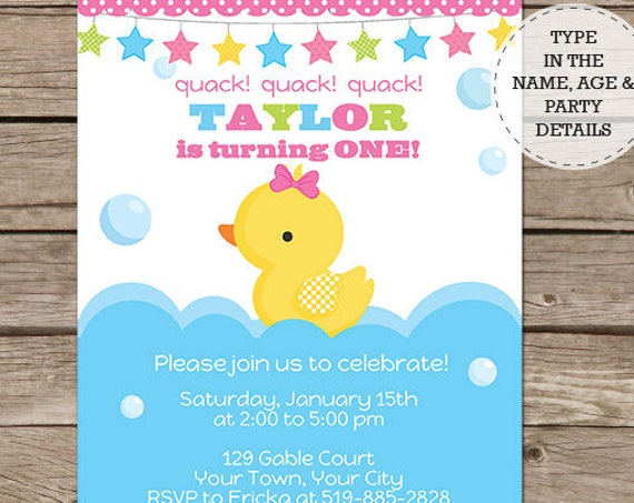 Girl Rubber Duck Birthday Party Invitation - Rubber Duck Invitation- Girl 1st Birthday Party- Download & Personalize at home in Adobe Reader