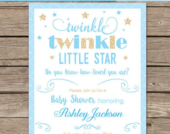 Blue Twinkle Twinkle Little Star Baby Shower Invitation- boy twinkle twinkle invitation - Download & Personalize at home in Adobe Reader