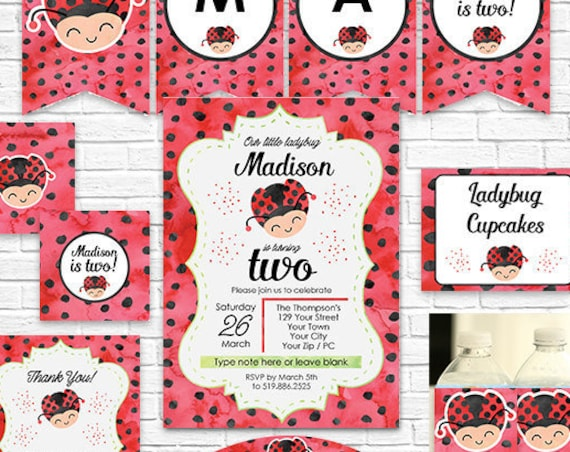 Ladybug Birthday Invitation and Decorations - Ladybug Invitation - Ladybug Party - Instant Download & Personalize in Adobe Reader at home