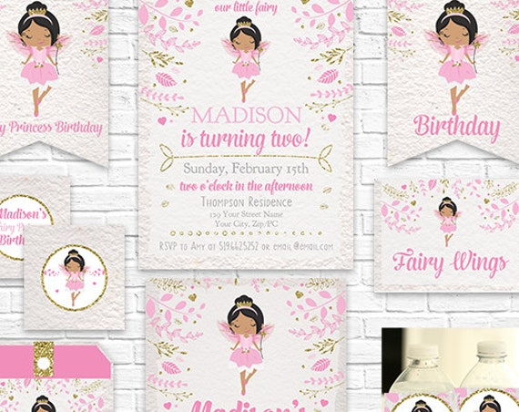 Fairy Invitation and Decorations - African American Fairy Princess Invitation Prinable Party Kit - Download & Personalize in Adobe Reader