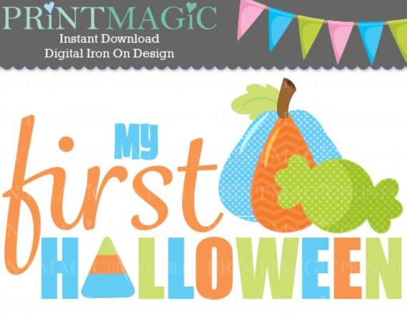 Baby 1st Halloween Digital Iron On or Digital Sticker Design - Baby First Halloween - Baby Halloween tshirt design - Baby Boy Halloween