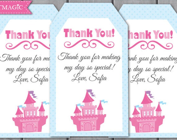 Princess Birthday Thank You Tags - Princess Thank You Note - Princess Birthday Party - Editable Text Template - Instant Download