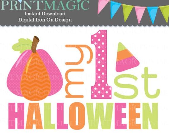 Baby 1st Halloween - Halloween Digital Iron On or Digital Sticker Design - Baby Girl First Halloween - Baby Girl 1st Halloween tshirt design