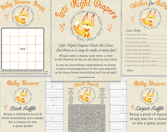 Fall Woodland Fox Baby Shower Games - Instant Download - Watercolor Woodland Baby Shower Activities - Late Night Diapers, Bingo & More