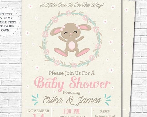 Bunny Baby Shower Invitation - Cute Bunny Girl Baby Shower Invitation - Parents to Be Baby Shower - Download & Personalize in Adobe Reader