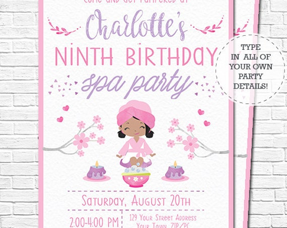 Spa Party Invitation - Spa Birthday Invitation - African American Girl - Pamper Party - watercolor - Download & Personalize in Adobe Reader