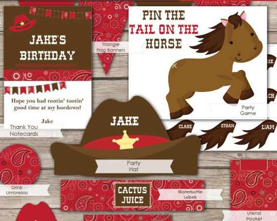 Western Party Invitation & Decorations - Cowboy Party - Western Birthday Invitation - Western Invitation - Download and Edit in Adobe Reader