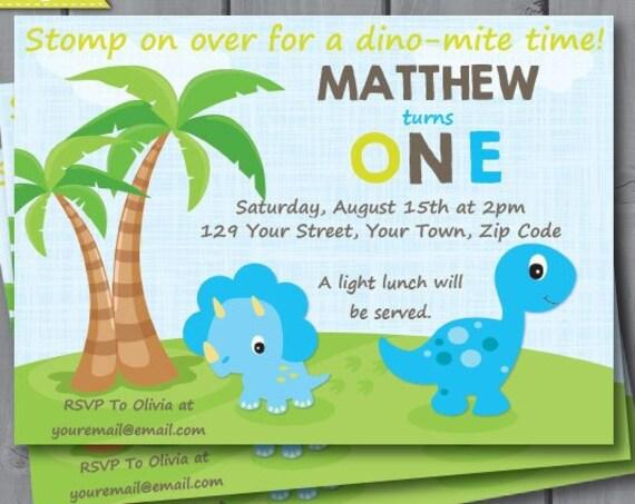 Dinosaur 1st Birthday Invitation - Dinosaur Party - Dinosaur Invitation - Birthday Party - Download & Personalize at home in Adobe Reader