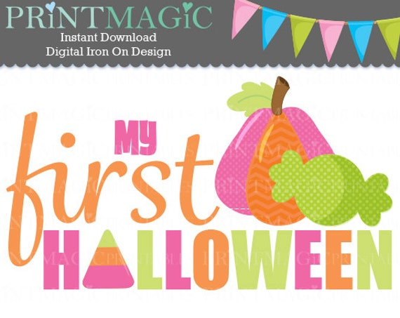 Baby Girl 1st Halloween Digital Iron On or Digital Sticker Design - Baby First Halloween - Baby Halloween shirt design - Baby Girl Halloween