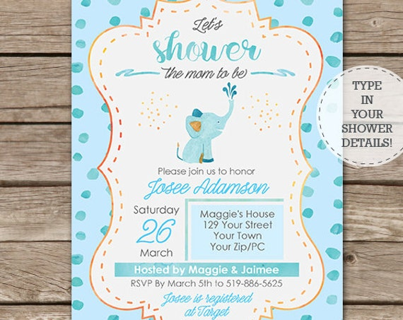Watercolor Elephant Baby Shower Invitation - Mom to Be Baby Shower Invitation  - Boy Baby Shower - Download & Personalize in Adobe Reader