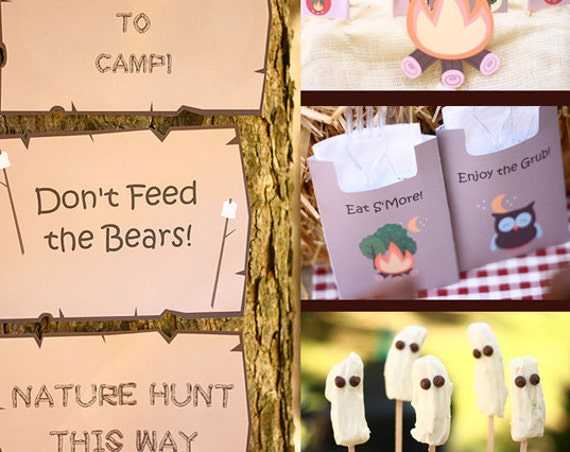 Camp Out Birthday Invitation & Decorations - Camping Birthday Party - Camping Party - Instantly Download and Personalize in Adobe Reader