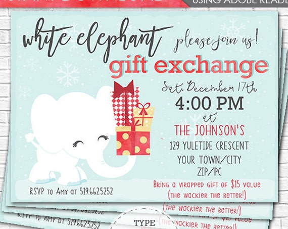 White Elephant Christmas Party Invitation - White Elephant Invitation - Gift Exchange Invitation - Download & Personalize in Adobe Reader