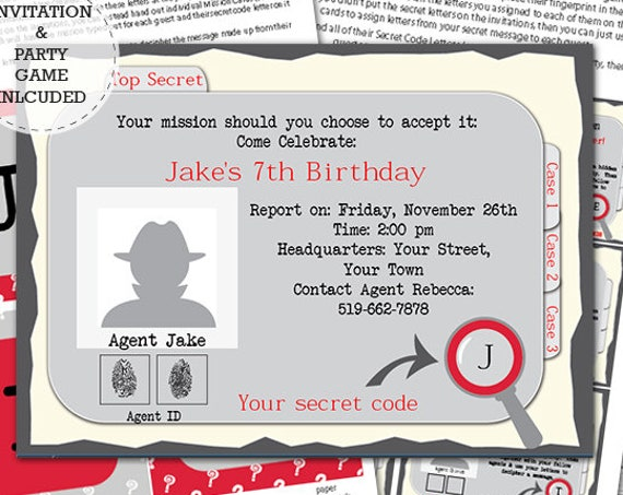 Secret Agent Invitation and Game - Detective Party Invitation and Game - Spy Party - Download & Personalize at home in Adobe Reader