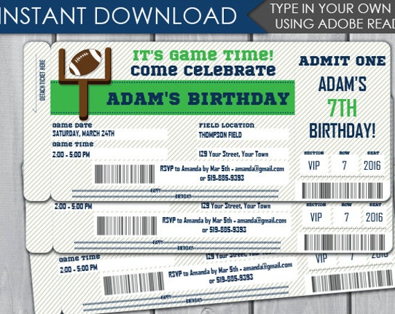 Football Birthday Party Invitation - Football Party Invitation - Football Ticket Invitation - Download & Personalize at home in Adobe Reader