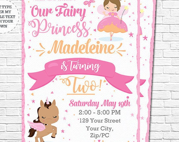 Pink Fairy Princess Invitation - Fairy and Unicorn Birthday Invitation - Unicorn Invitation - Download & Personalize in Adobe Reader at home