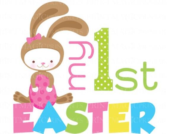 Girl Easter Bunny 1st Easter Digital Iron On - Digital tshirt sticker Design - Baby Girl 1st Easter- 1st Easter Digital Sticker Design