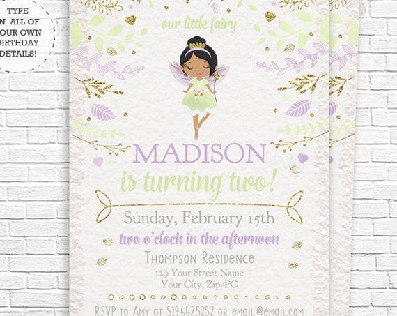 Green Lavender Fairy Invitation - African American Fairy Princess Invitation - Fairy Invitation - Download & Personalize in Adobe Reader