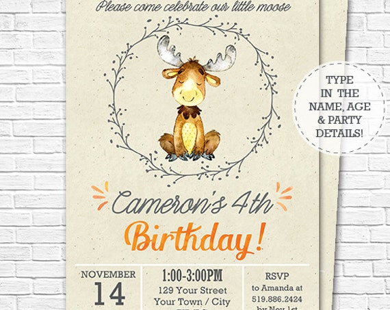 Watercolor Moose Invitation - Fall Woodland Birthday Invitation - Woodland Invitation - Cute Moose - Download & Personalize in Adobe Reader