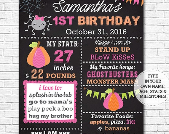 Halloween Birthday Chalkboard - Halloween Chalkboard Poster - Halloween 1st Birthday - Download & Personalize in Adobe Reader at home