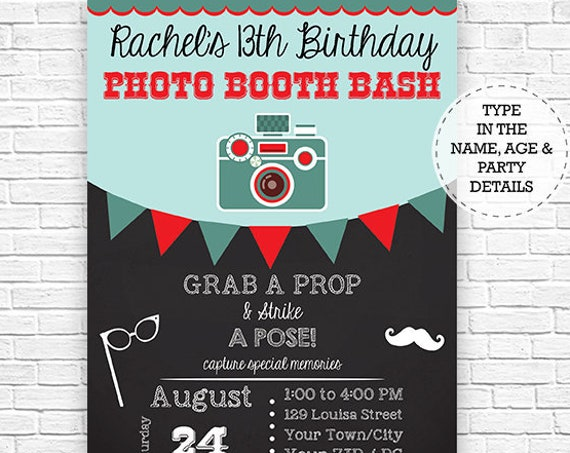 Photo Booth Birthday Party Invitation - Photo Booth Party - Photo Prop Party - Instant Download - Personalize at home in Adobe Reader