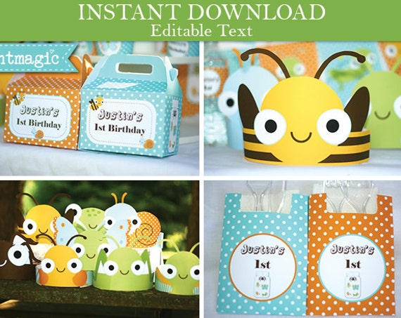 Bug Birthday Party Invitations & Decorations - Bug Party - Bug Birthday Invitation - Instant Download- Personalize at home in Adobe Reader