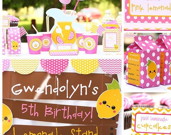 Pink Lemonade Stand Birthday Invitation & Decorations Printable Party - Cute Lemon Invitation - Download and Personalize in Adobe Reader
