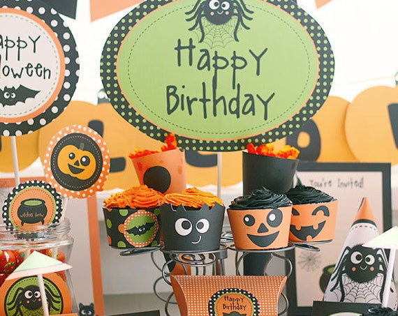 Halloween Party or Halloween Birthday Invitation & Decorations - Printable Halloween - Instant Download - Personalize using Adobe Reader